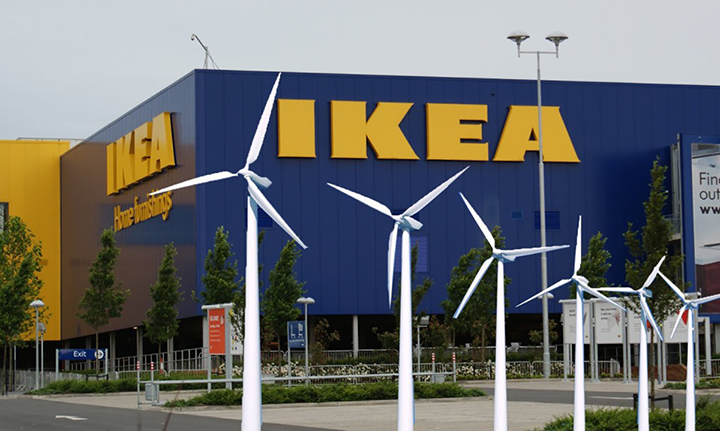 IKEA store with wind turbines