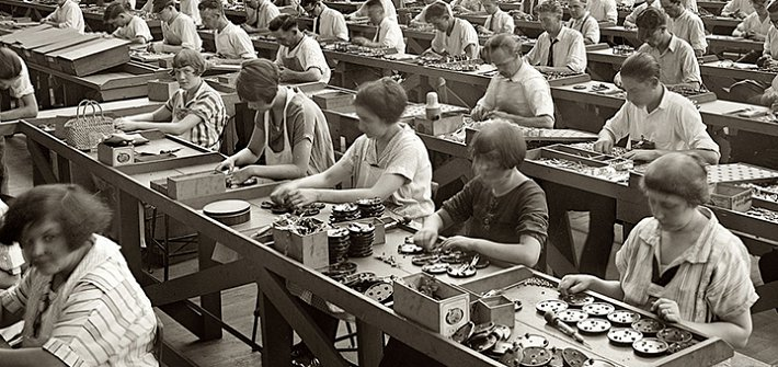 Workers in old style factory