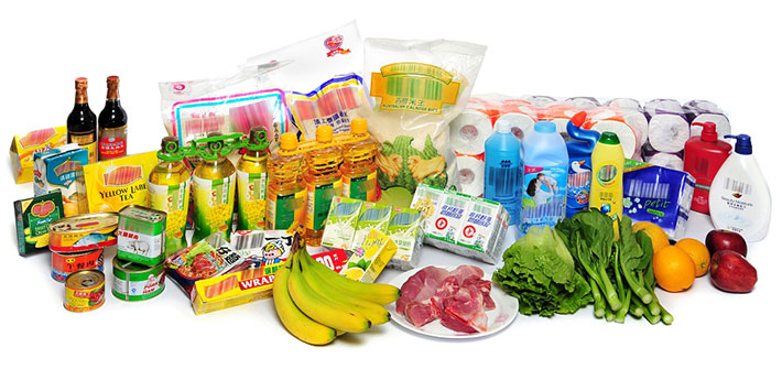 A variety of supermarket products