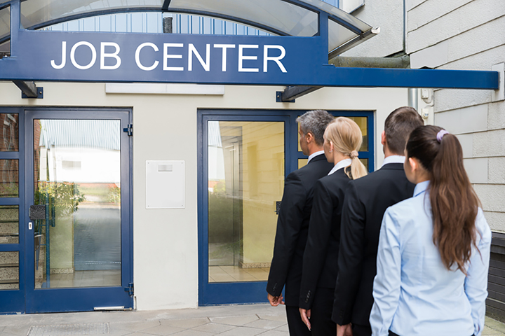 Business people queued outside job centre