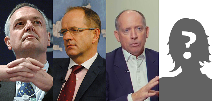 Paul Polman, Andrew Witty, Ian Cheshire and silhouette with question mark
