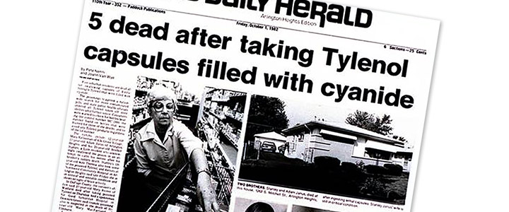Daily Herald cover - 5 dead after taking Tylenol capsule filled with cyanide